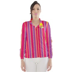 Stripes Colorful Background Wind Breaker (women)
