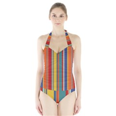 Stripes Background Colorful Halter Swimsuit by Simbadda