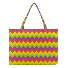 Colorful Zigzag Stripes Background Medium Tote Bag by Simbadda