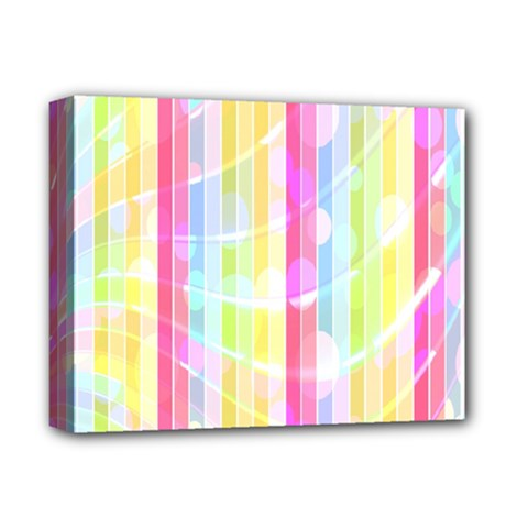 Abstract Stripes Colorful Background Deluxe Canvas 14  X 11  by Simbadda