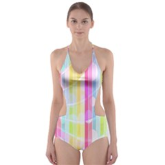 Abstract Stripes Colorful Background Cut-out One Piece Swimsuit by Simbadda