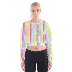 Abstract Stripes Colorful Background Women s Cropped Sweatshirt