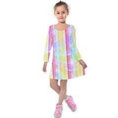 Abstract Stripes Colorful Background Kids  Long Sleeve Velvet Dress by Simbadda