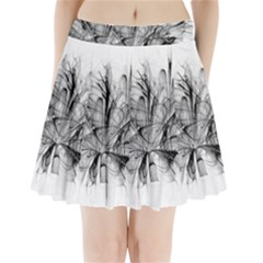 Fractal Black Flower Pleated Mini Skirt by Simbadda