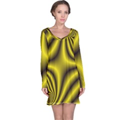 Yellow Fractal Long Sleeve Nightdress by Simbadda