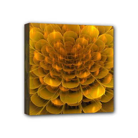 Yellow Flower Mini Canvas 4  X 4  by Simbadda