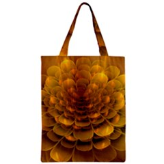 Yellow Flower Zipper Classic Tote Bag