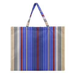 Colorful Stripes Zipper Large Tote Bag
