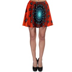 Red Fractal Spiral Skater Skirt by Simbadda