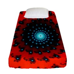 Red Fractal Spiral Fitted Sheet (single Size) by Simbadda