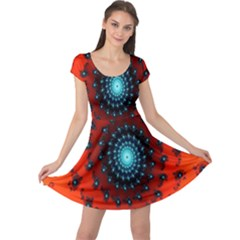 Red Fractal Spiral Cap Sleeve Dresses by Simbadda
