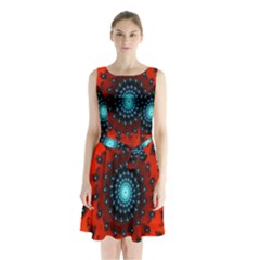 Red Fractal Spiral Sleeveless Chiffon Waist Tie Dress