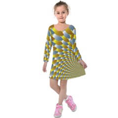 Fractal Spiral Kids  Long Sleeve Velvet Dress