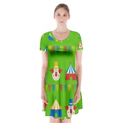Circus Short Sleeve V-neck Flare Dress