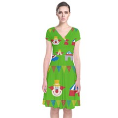 Circus Short Sleeve Front Wrap Dress