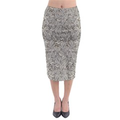 Silver Tropical Print Midi Pencil Skirt by dflcprintsclothing