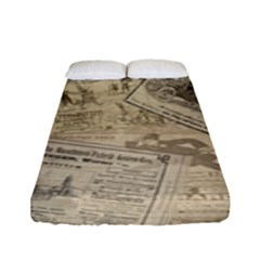 Vintage Newspaper  Fitted Sheet (full/ Double Size) by Valentinaart