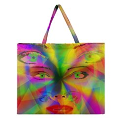 Rainbow Girl Zipper Large Tote Bag by Valentinaart