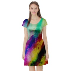 Abstract Colorful Paint Splats Short Sleeve Skater Dress by Simbadda