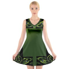 Celtic Corners V Neck Sleeveless Skater Dress