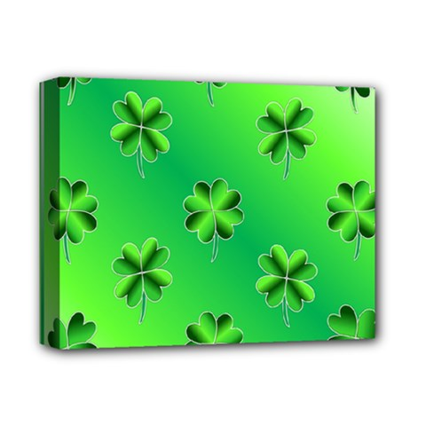 Shamrock Green Pattern Design Deluxe Canvas 14  X 11