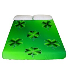 Shamrock Green Pattern Design Fitted Sheet (california King Size) by Simbadda