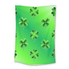 Shamrock Green Pattern Design Small Tapestry by Simbadda