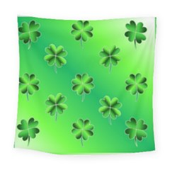 Shamrock Green Pattern Design Square Tapestry (large) by Simbadda