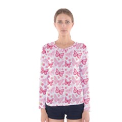Cute Pink Flowers And Butterflies Pattern  Women s Long Sleeve Tee by TastefulDesigns
