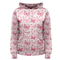 Cute Pink Flowers And Butterflies Pattern  Women s Pullover Hoodie by TastefulDesigns