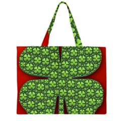 Shamrock Irish Ireland Clover Day Zipper Large Tote Bag by Simbadda
