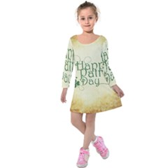 Irish St Patrick S Day Ireland Kids  Long Sleeve Velvet Dress by Simbadda