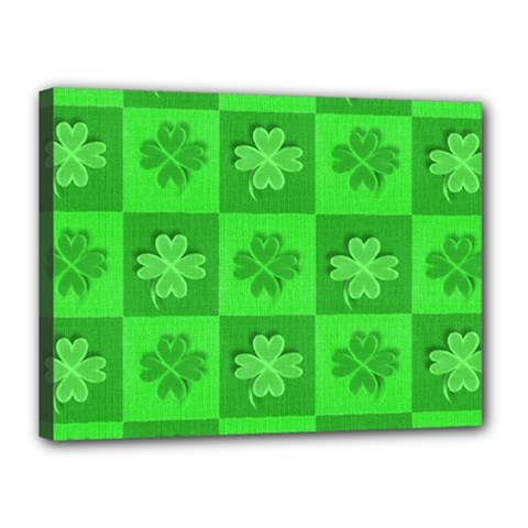 Fabric Shamrocks Clovers Canvas 16  X 12  by Simbadda