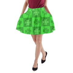 Fabric Shamrocks Clovers A Line Pocket Skirt by Simbadda