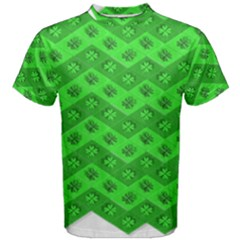 Shamrocks 3d Fabric 4 Leaf Clover Men s Cotton Tee by Simbadda