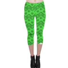 Shamrocks 3d Fabric 4 Leaf Clover Capri Leggings  by Simbadda