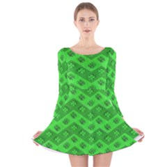 Shamrocks 3d Fabric 4 Leaf Clover Long Sleeve Velvet Skater Dress by Simbadda