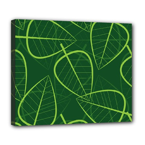 Vector Seamless Green Leaf Pattern Deluxe Canvas 24  X 20