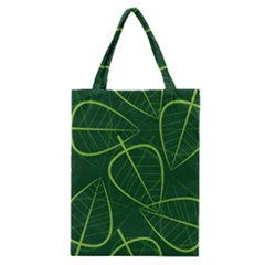 Vector Seamless Green Leaf Pattern Classic Tote Bag by Simbadda