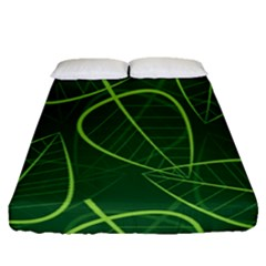 Vector Seamless Green Leaf Pattern Fitted Sheet (queen Size) by Simbadda