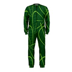 Vector Seamless Green Leaf Pattern Onepiece Jumpsuit (kids) by Simbadda