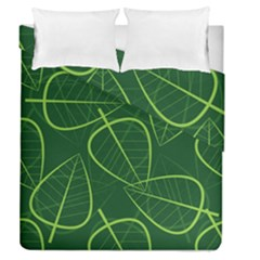 Vector Seamless Green Leaf Pattern Duvet Cover Double Side (queen Size)