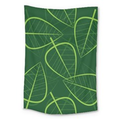 Vector Seamless Green Leaf Pattern Large Tapestry by Simbadda