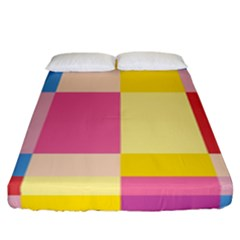 Colorful Squares Background Fitted Sheet (california King Size) by Simbadda