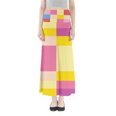 Colorful Squares Background Maxi Skirts