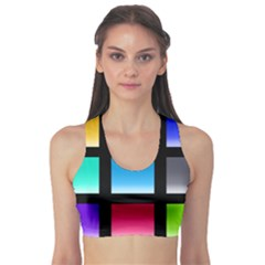 Colorful Background Squares Sports Bra by Simbadda