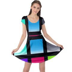 Colorful Background Squares Cap Sleeve Dresses by Simbadda