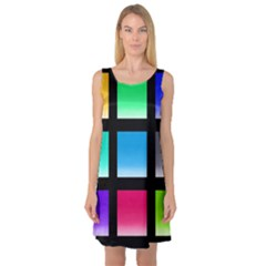 Colorful Background Squares Sleeveless Satin Nightdress