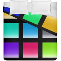 Colorful Background Squares Duvet Cover Double Side (king Size) by Simbadda