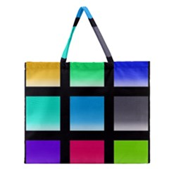 Colorful Background Squares Zipper Large Tote Bag